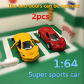 2pcs Discount package 1 64 LaF Alloy Sports car model Pull Back Double door Collection modification