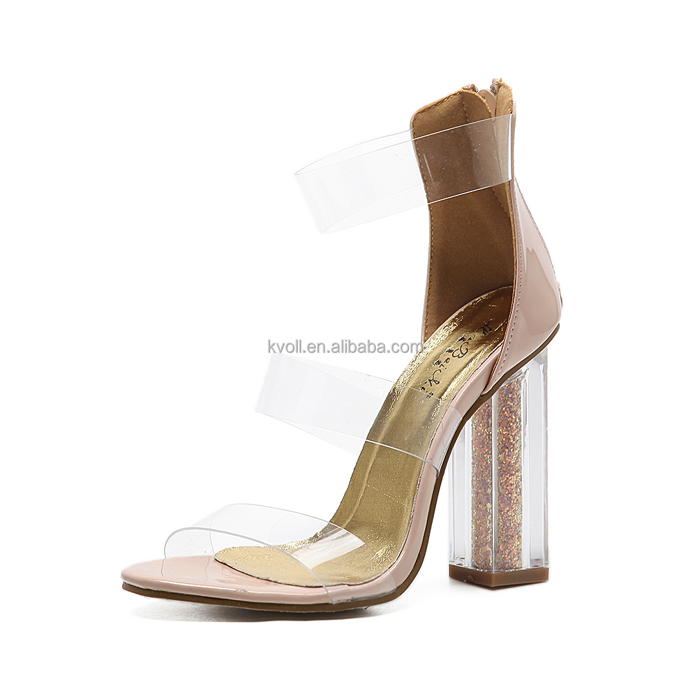 2017 Crystal Flower Ladies High Heel Sexy <strong>Sandals</strong> with Transparant Heel
