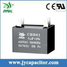 4UF 450V SH CBB61 Taizhou AC motor run film capacitor 2+2 Pin for fan