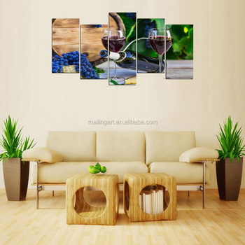 5 Panel Wall Art Blue Wine And Grape Picture Canvas Painting For ...