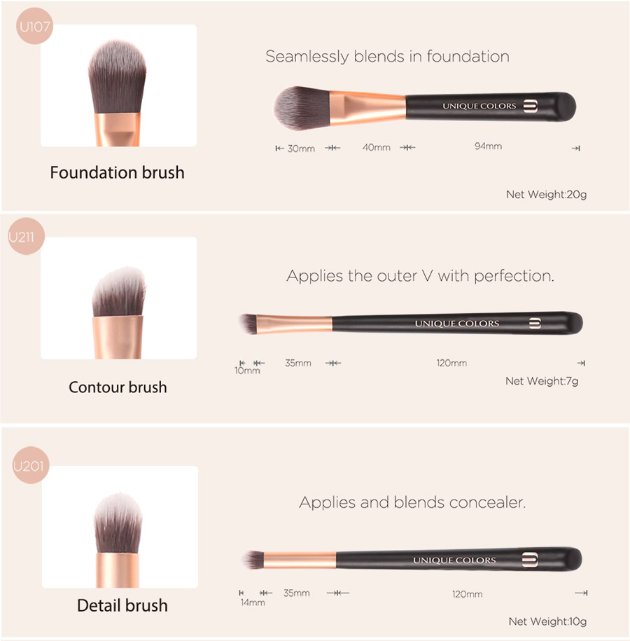 Private label vegan makeup brushes synthetic Hair brochas maquillaje makeup brush set