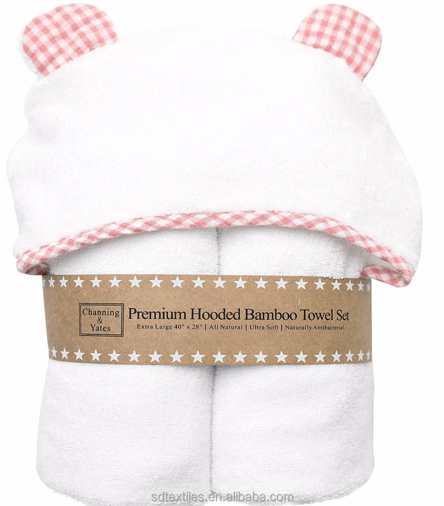 Customized design natural Antibacterial bamboo baby hooded towel for Baby Shower Gift
