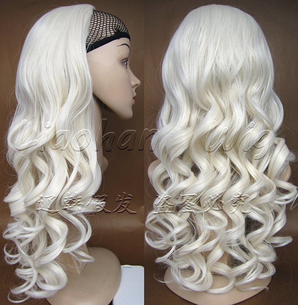 Buy Liaohan Half Wig Hair Fall Long Curly Wig Fall Highlights White