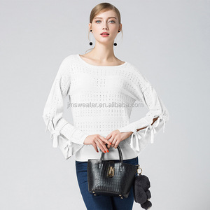 OEM italian top quality women long sleeve spring crochet knitwear