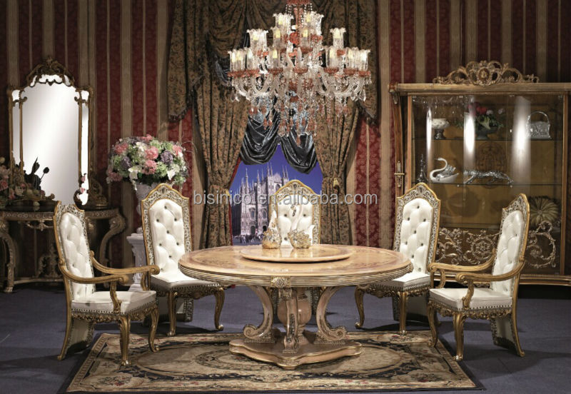 England Style Round Dining TableNoble British Windsor Victorian Wood Carved Room Furniture Set