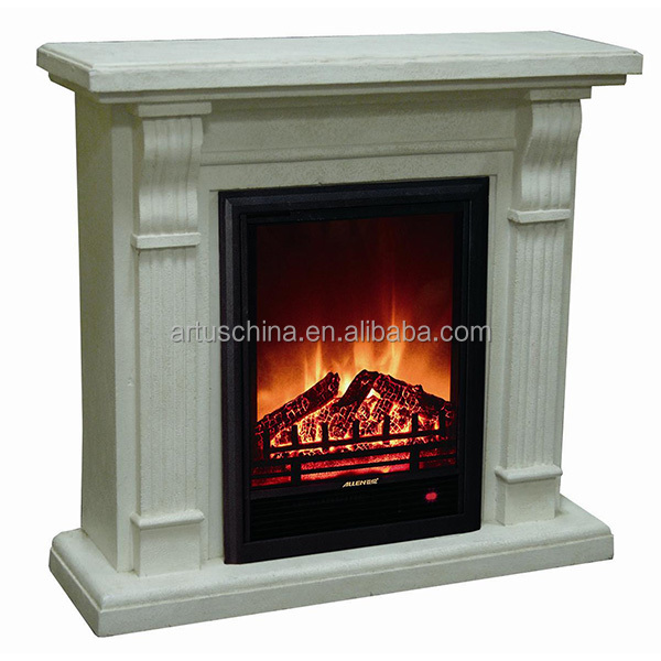 Polystone Electric fireplace heater insert white