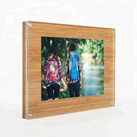 Strong Magnetic Handmade High Polish Edges Clear Acrylic Sandwich Board Photo Frame With Wood Back