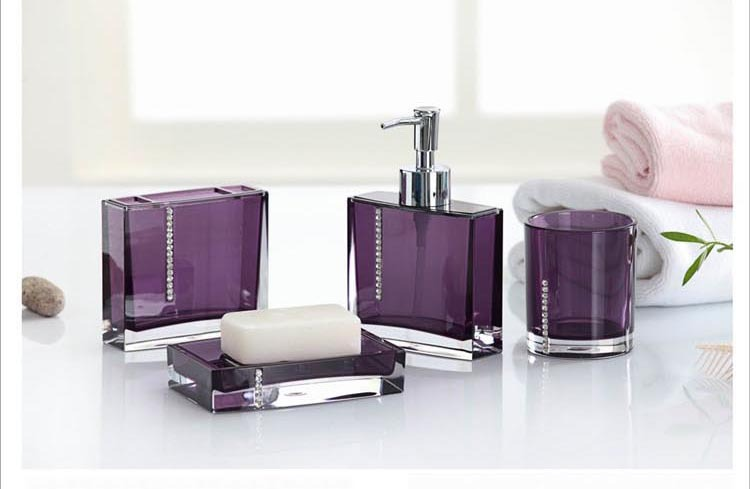Get Quotations Acrylic Bathroom Set 4pieces Bath Sets 4pcs Bathroom Set Four Pieces Bathroom Accessories Sets Purple White