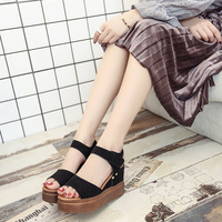 2018 new korean design pu material women high heel heels high wedges ladies fancy wedge shoes