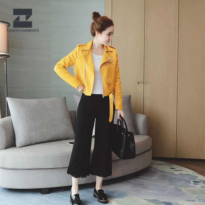 China supply hot sale natural women pu leather jacket
