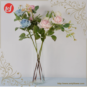 High Quality Real Touch Artificial Simulation Flower Spray Rose Decor Glitter Flowers