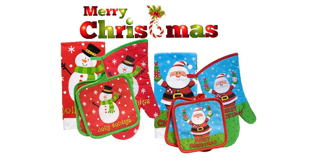 "8 Pc. Christmas House Set - ""Jolly Holidays"" Snowman Kitchen Linens PLUS Christmas House Santa ""Merry Christmas"" Kitchen Linens Collection!"