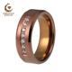 CNC 7 CZ Stones Stainless Steel Brown Plated Tungsten Wedding Engagement ring For Men Women Comfort Fit