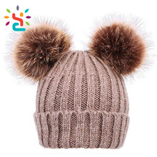 Unisex Cable Knit Beanie with Faux Fur Pompom Ears Beanie Winter Hat With Two Balls