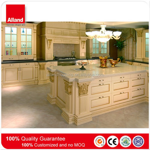 Italian raised panel square with slab drawer front cabinets whole kitchen cabinet set with roman column