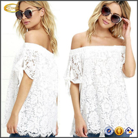 Latest fashion Fashion Women Summer white Lace Off Shoulder blouse top Casual short sleeve knitted solid t Shirt wholesale 2016