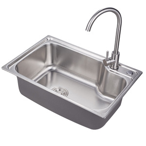 6844 Cheap single bowl stainless steel material 201 kitchen sink with drainer