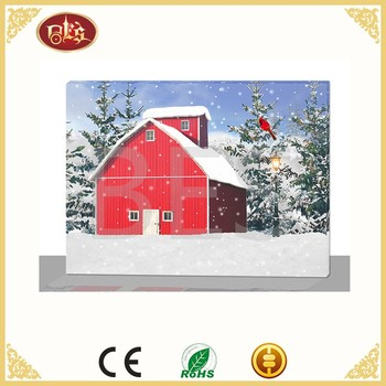 Customized Home Decoration Winter Light Scenery Led Candle Canvas Flicker Wall Painting
