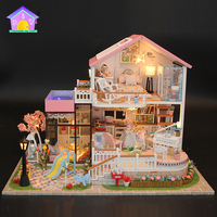 Children miniature toys 3d diy building puzzle dollhouse for kid