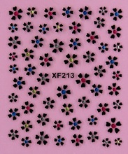flower black 3D design Water Transfer Nails Art Sticker decals lady women manicure tools Nail Wraps