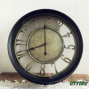 Ustide Wall Clock Antique Style Round Black Bronze Vintage Non-ticking American Country Style Acrylic Mental Black Wall Clock 14 Inches