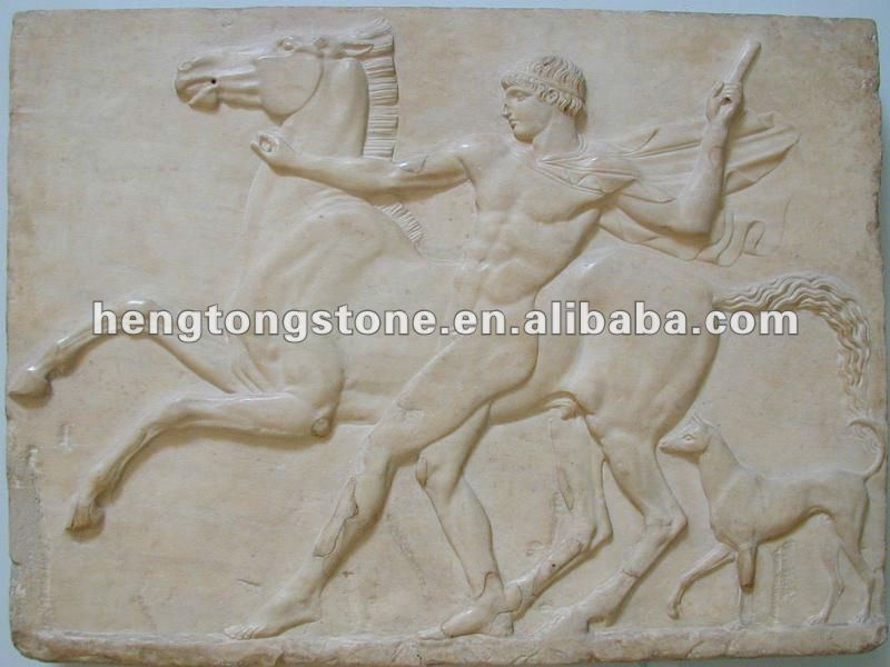 White Marble Relief Of A Youth With His Horse And Dog