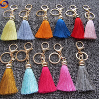 Wholesale customized cheap colorful leather keychain tassels