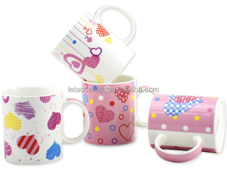 Made in China 325ml 12oz Cheap Porcelain Ceramic Hot Pink Mug Valentine Day Gifts for Girlfriend