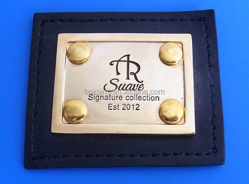 engraving plate for leather,metal leather plate/tag/label for clothing and handbags