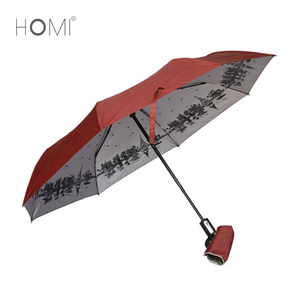 Eiffel Tower Inside Heat Printing Fancy Scenery Sun Folding Umbrella