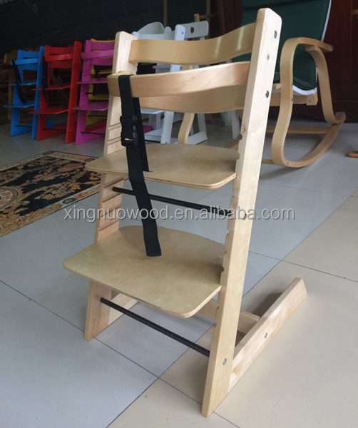 wooden highchairs, qingdao, factory, simple design,in nature wood color