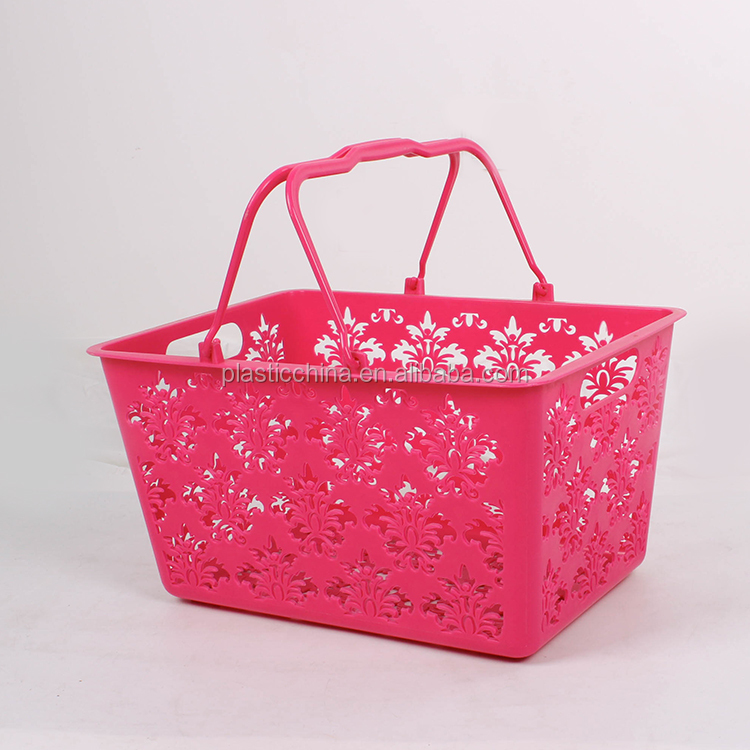 New product household plastic red baskets with handle