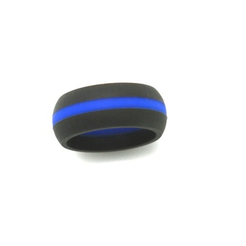 Black Silicone Wedding Band With Blue Stripe Comfortable Active
