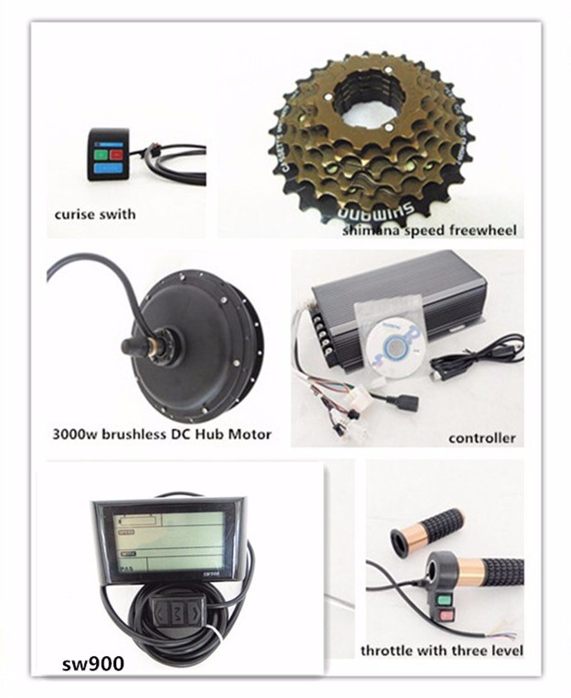 Green power DIY dc rear front drive 3000 wát e-kit xe đạp với e-bike lcd