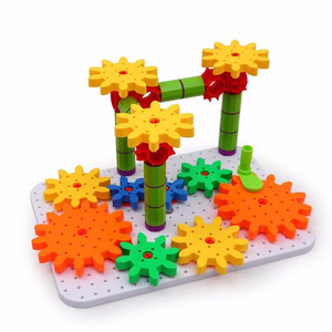 Funny educational connecting gear blocks toys play set popular kindergarten intellect DIY building plastic toy gears