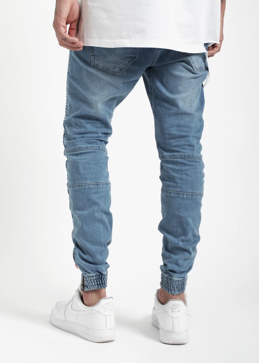 58e10598269 OEM personalizada Biker denim jogger pantalón azul lavado denim biker  camisetas pantalones vaqueros pantalones jogger jeans