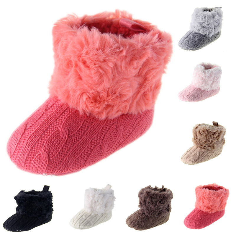 Get Quotations · 2015 Brand Newborn Baby Infant Girls Warm Bowknot Snow Boots  Crib Shoes Toddler Warm Fleece Prewalker 6849863e3537