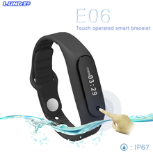 Touch Screen Smart Fitness Band Wristband E06 Bracelet Fitness Wearable Tracker Waterproof IP67 Bluetooth Watch for Android IOS
