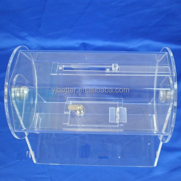 Clear Acrylic Lucky Draw Box, Acrylic Lottery Draw Display, Acrylic Raffle Ticket Drum