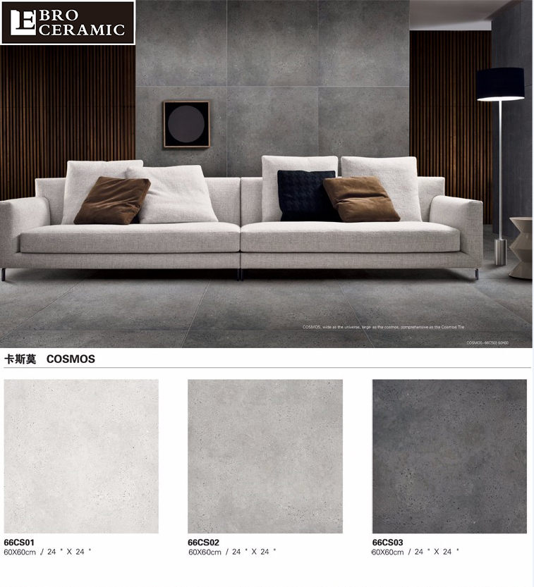 Non-slip Matt finish Light Grey 8x8 ceramic floor tiles ghana 45x45 30x60 60x60 for Bathroom Floor and Wall 66CW07