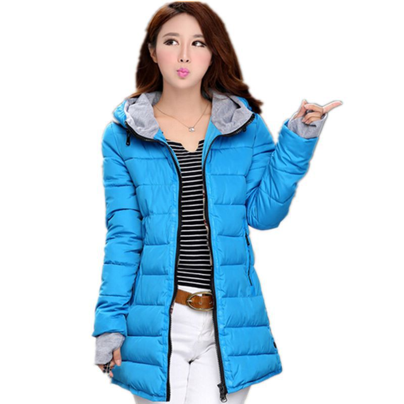 Plus Size 2015 Womens Winter Jackets And Coats Thick Down Coat Warm Long Female Hooded Slim Cotton Padded Womens Parka CC2193S