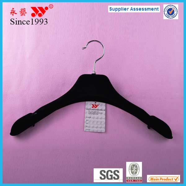 Plastic black flocked womenwear clothes hanger parts