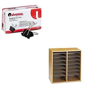 KITSAF9422MOUNV10200 - Value Kit - Safco Wood/Laminate Literature/CD Sorter (SAF9422MO) and Universal Small Binder Clips (UNV10200)