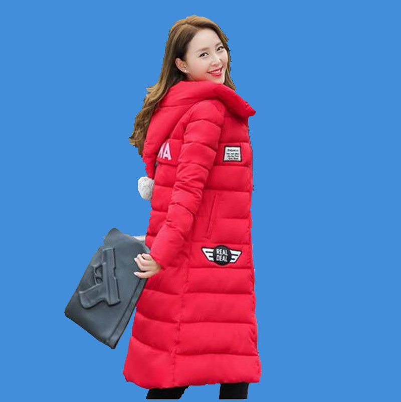 2016Korea font b Winter b font New Fashion Thicken Warm Fur Ball Hooded Down Jacket Women