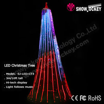 Outdoor Artificial Cone Christmas Trees With LED Light Strip