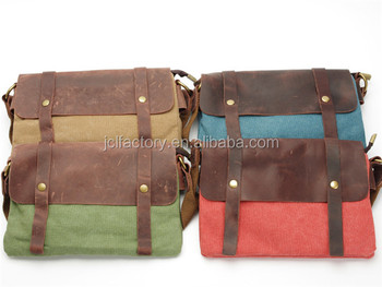 Canvas Matching Real Leather Best Messenger Bag For College Product On