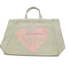 China supplier custom printed shopping canvas plain tote bags with ice cream pink logos