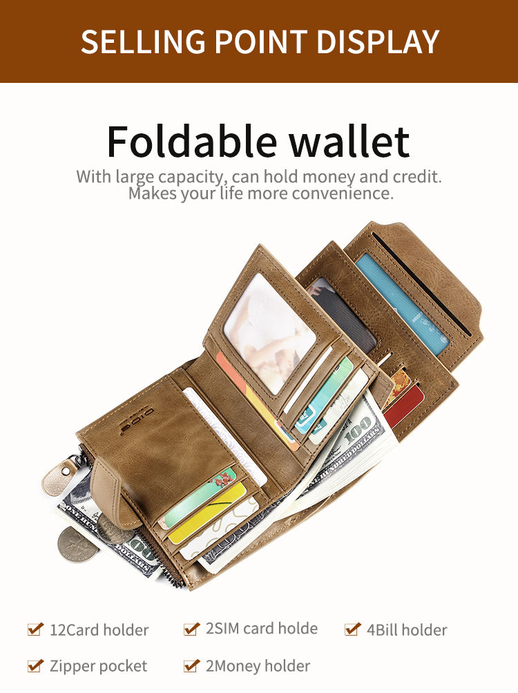 DIDE fashion genuine leather RFID mens money clip wallet with zipper and hasp
