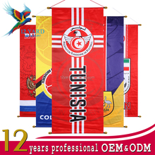 Manufacturing sublimation printing Tunisia football flag 2018 russia soccer gifts