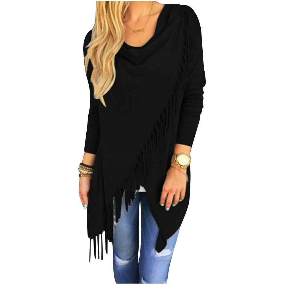 Womens Sweater - SODIAL(R)Womens Capes And Ponchoes Oversized Sweater With Tassel Turtleneck Sweater (Black,S)